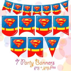 7 Superman Superhero Printable Flags Nursery Banner Birthday Party Decorations Garland Dig