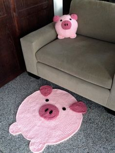 Pig Pillow and Pig Rug / Etsy This Little Piggy, Little Pigs, Pig Crafts, Teacup Pigs, Cute Piggies, Baby Pigs, Flying Pig, Crochet Home, Crochet Projects