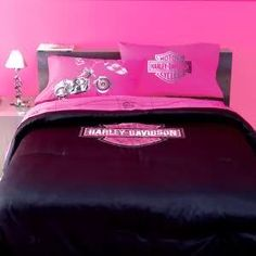 Pink and Black Harley Davidson Bedding