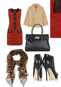 MILLY - Brice two-tone suede dress -  GUCCI - Platform leather ankle boots - MULBERRY - Bayswater textured-leather bag -  YVES SAINT LAURENT - Leopard-print silk-muslin scarf -  CALVIN KLEIN COLLECTION - Wool and cashmere-blend felt coat -