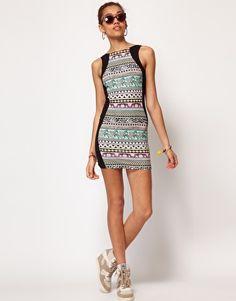 River Island Stripe & Safari Print Body-Conscious Dress with Ash Sneakers