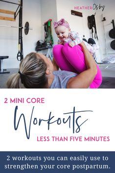 2 Mini Core Workouts Less than five minutes to strengthen your core postpartum Diastasis Recti Exercises, Pelvic Floor Exercises, Core Exercises, Core Workouts, Postpartum Workout Plan, Postnatal Workout, Mini Workouts, Fit Board Workouts, Core Muscles
