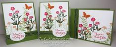 Sympathy Card Stamp-a-Stack: Wild About Flowers Garden Cards.  These are three of the 12 cards (3 each of 4 styles) we'll be creating.  Wild About Flowers, Sympathy, Stampin' Up, cards, Watercolor Wishes.    See complete details at www.toocoolstamping.com