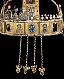 A bal oldala a függőkkel Royal Crowns, Royal Jewels, Crown Jewels, Hungary History, New Palace, Hagia Sophia, Female Images, Byzantine, Horns