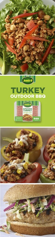 Outdo how you cook outdoors with lean ground turkey! From sides to main dishes, ground turkey makes it easy to eat well at your next barbeque without sacrificing flavor.  | JENNIE-O® Turkey | BBQ Dishes | Confetti Turkey Stuffed Peppers | Turkey Taco Salad | Barbeque Turkey Burgers |
