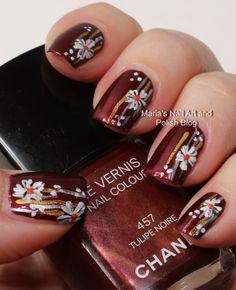 Marias Nail Art and Polish Blog: Black and white flowers on the black tulip - nail art