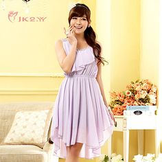 Women's Fashion Dress Round Collar Chiffon Bridesmaid/ Party Dress – USD $ 33.70