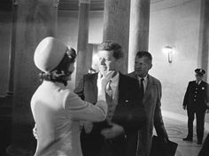 """Jackie congratulates her President just after he's sworn in  """"I was so proud of Jack, but I could scarcely embrace him in front of all those people, so I remember I just put my hand on his cheek and said, """"Jack you were so wonderful."""" And he was smiling and most vulnerable way. He looked so happy."""""""