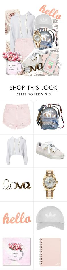"""""""xx"""" by pauloskompanieros on Polyvore featuring Topshop, Chanel, Monrow, Puma, PBteen, Rolex and Oliver Gal Artist Co."""