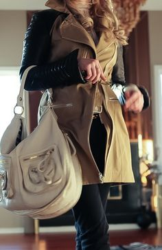 Obsessed with this leather sleeve trench.