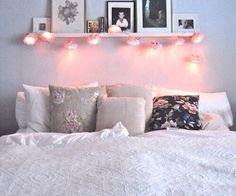 Bedroom - Pillows - Bed - Girly - Fairy Lights - Comfy