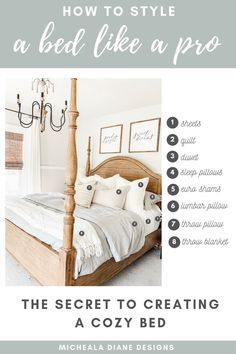 Sharing all my designer tips and tricks on how to style a bed to create a design. - Sharing all my designer tips and tricks on how to style a bed to create a designer look, that is no - Cama King, Cama Queen, Farmhouse Style Bedrooms, Farmhouse Bedroom Decor, Farmhouse Bed Pillows, Bedding Master Bedroom, Home Bedroom, Bedroom Furniture, Bedroom Ideas