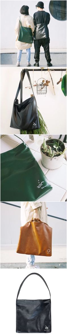 Green and black simply leather bags women's accessories