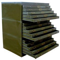 Vintage industrial hamilton 15 drawer steel flat file cabinet large vintage steel flat file cabinet image 2 malvernweather Images