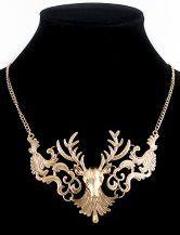 Gold Hollow Deer Necklace #sheinside