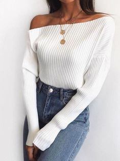 White One-Shoulder Knitted Top Summer Black Long Sleeve Street Style Classy Party Casual Neckline Women Sexy Pullover Sweater American Solid Source by aitziklevy Tops summer Best Casual Outfits, Classy Outfits, Chic Outfits, Classy Party Outfit, Dress Outfits, Black Outfits, Simple Outfits, Mode Outfits, Fashion Outfits