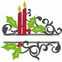 Silhouette Design Store: split christmas candle flourish
