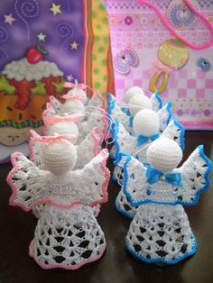 Crochet Patterns Christmas Crochet Angels for All Occasions: Babyshower Decoration, Christening, New Born, … Crochet Christmas Decorations, Crochet Ornaments, Christmas Crochet Patterns, Holiday Crochet, Crochet Snowflakes, Christmas Crafts, Thread Crochet, Crochet Crafts, Crochet Toys