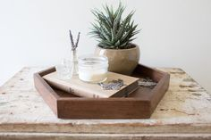 Hexagone en bois plateau bijoux en bois noyer par whiskyginger