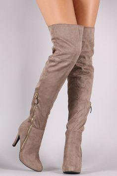 Qupid Suede Zipper Trim Over-The-Knee Boots