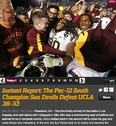Instant Report: The Pac-12 South Champion Sun Devils Defeat UCLA 38-33  How it happened..