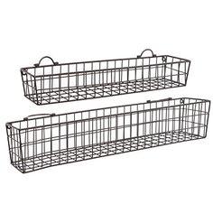Elegant Set Of 2 Country Rustic Wall Mounted Openwork . Basket ShelvesStorage  BasketsStorage ShelvesWire ...
