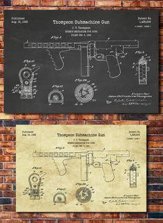 Tommy Gun patente imprimir arte 1922 por CatkumaPatentPress en Etsy