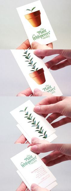 WE ♥ THIS!  ----------------------------- Original Pin Caption: Clever Growing Plant Illusion Interactive Business Card Design
