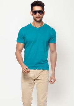 Short Sleeves Solid Blue V-Neck T Shirt  Price : Rs.399