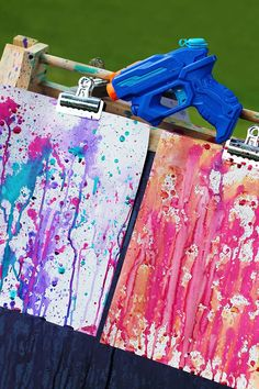 Kids will LOVE you -Squirt gun painting is such an awesome summer art activitiy! – Fireflies and Mud Pies Kids will LOVE you -Squirt gun painting is such an awesome summer art activitiy! – Fireflies and Mud Pies Summer Crafts, Summer Art, Summer Kids, Summer 2015, Craft Activities For Kids, Projects For Kids, Indoor Activities, Craft Ideas, Babysitting Activities