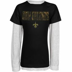 New Orleans Saints Youth Girls Faux Layered Raglan Long Sleeve T-Shirt - Black/White
