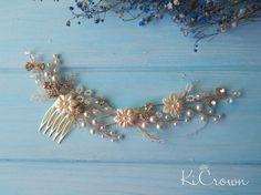 Ivory pearls headpiece Bridal hair comb Pearls bridal