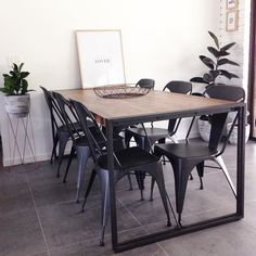 Love our dining table  #superamartstyle #city2 #industrialhome #sharemystyle #pocketofmyhome #diningstyle #diningroomstyling #beaumonttiles #littlebrickhome #homestyling #homedecor #homewares #print by littlebrickhome