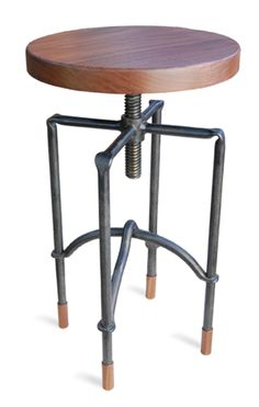 wood and iron stool with adjustable seat.  trying to find two of these for our house.