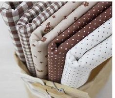 3 +1 5 PIECES NATURAL BROWN HOME DECO QUILT CRAFTS NEW FABRIC 100% COTTON #Korea