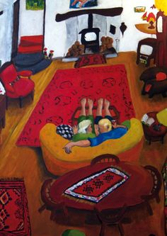 'A Night At Home' By Painter Sue Richardson. Blank Art Cards By Green Pebble. www.greenpebble.co.uk