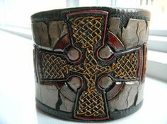 Celtic Cross Leather Cuff by AFlem