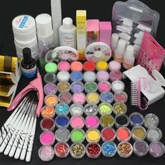 US Seller! 27 in 1 Combo Full Set Professional Acrylic Liquid Nail Art Brush Pen Glue Glitter Strip Shimmering Powder Hexagon Slice Toe Finger Separator Buffer Block Decorations Frech Tips Tool Kit * You can get more details by clicking on the image. Acrylic Liquid, Liquid Nails, Acrylic Nail Art, Glue On Nails, Gel Nail Kit, Uv Gel Nails, Nail Kits, Nail Art Tool Kit, Nail Art Tools
