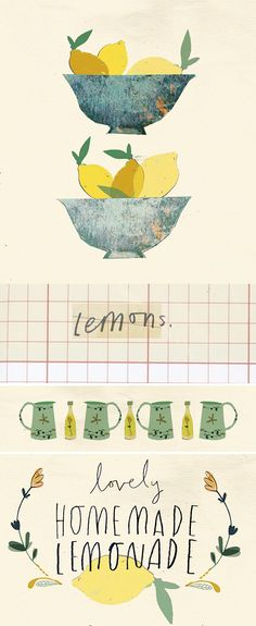 lemoade collage, by Clair Rossiter Fruit Illustration, Pattern Illustration, Food Illustrations, Food Sketch, Posters Vintage, You Draw, Mellow Yellow, Gouache, Food Art