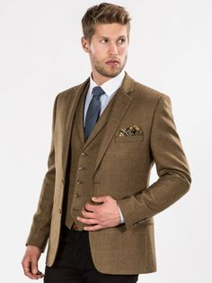 Light Brown Checked Tweed Look Tailored Blazer
