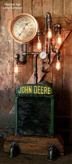 John Deere Radiator Floor lamp, steampunk, industrial steam gauge,  edison, barn wood, machine age lamps