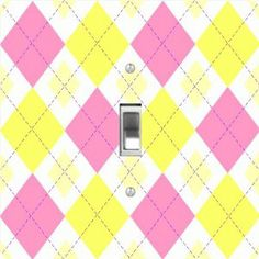 "Rikki KnightTM Pink Yellow Argyle mini Yellows - Single Toggle Light Switch Cover by Rikki Knight. $13.99. The Pink Yellow Argyle mini Yellows single toggle light switch cover is made of commercial vibrant quality masonite Hardboard that is cut into 5"" Square with 1'8"" thick material. The Beautiful Art Photo Reproduction is printed directly into the switch plate and not decoupaged which make these Light Switch Plates suitable for use in any room in the office, home..."