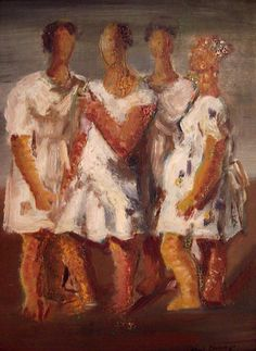 Four women - Oil on Canvas - Iberê Camargo.