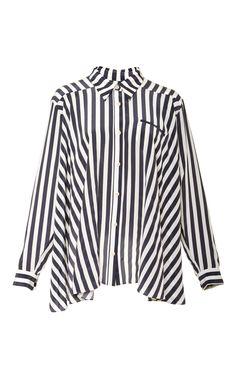Stripe Pleat Back Button Down by Kaelen Now Available on Moda Operandi
