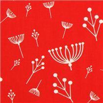tomato red flower organic knit fabric birch USA Twigs