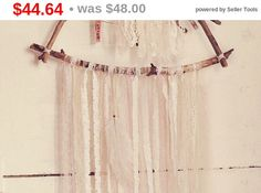 Made To Order   Triangle boho wall hanging dreamcatcher.  Handmade of four driftwood branches, laces stripes and maraboo feather.  Branches are fastened together with tiny ... #dreamcatcher