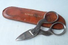 Unusual Vintage Sheffield Steel Folding Sewing Scissors in Sumner Chorley Leather Case Circa 1950s #FollowVintage