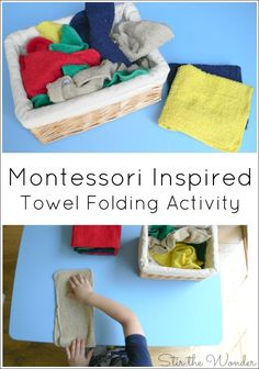 Teaching toddlers and preschoolers to fold towels is a simple practical life skill they can easily learn with a Montessori Inspired Towel Folding Activity.