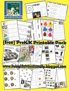 FREE! Make Way for Duckling Literature Pack These are such fun free worksheets for kids Preschool, Kindergarten, 1st grade. Love the colors, addition, sorting, and map skills especially!