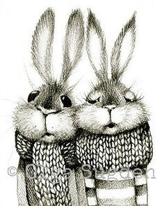 Bunny couple in mufflers. Rabbit Illustration, Illustration Art, Some Bunny Loves You, Rabbit Art, Bunny Rabbit, Bunny Art, Funny Bunnies, Whimsical Art, Cute Art